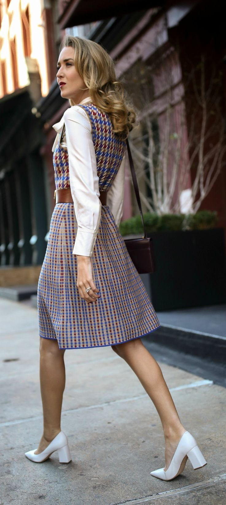 Blue, red and white checked knit dress, white tie-neck blouse, brown leather waist belt, white block heel pumps, suede burgundy crossbody bag {Tory Burch, YSL, fall fashion, what to wear on Thanksgiving, Thanksgiving outfit, classic fall dress, street sty