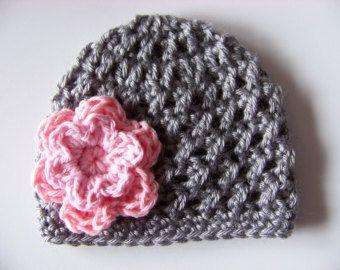 Baby Girl Crochet Hat - Baby Girl Beanie - Newborn Girl Hat - Newborn Prop - Gray - Pink Flower