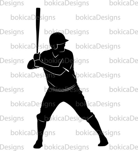 Baseball Player Silhouette Scalable Vector Graphics Silhouette Svg Eps Png Jpg Files Printable Baseball Players Silhouette Players