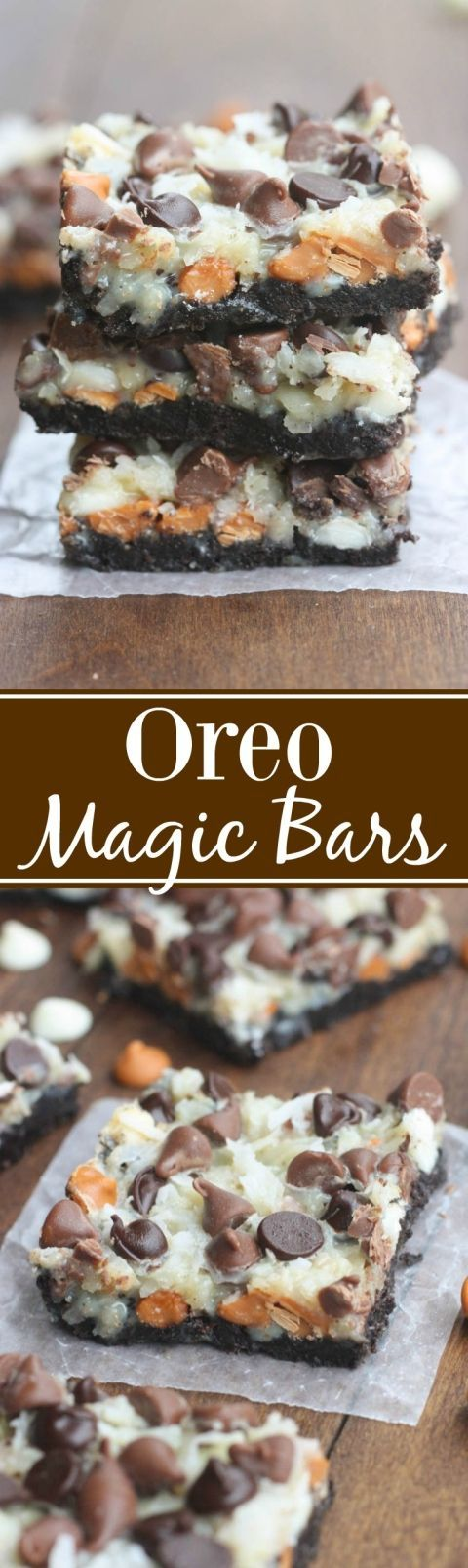 Oreo Magic Bars - Seven simple layers of Oreo chocolate bliss starting with an Oreo crust three different types of chocolate chips coconut and nuts. This is the EASIEST dessert and always a party favorite.