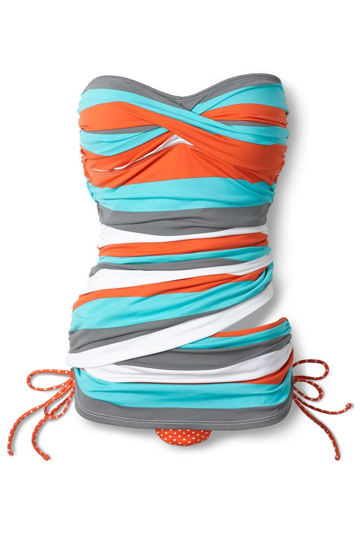 Tommy Bahama's Rugby Dot Bandeau Tankini Top | Everything But Water. Too cute!