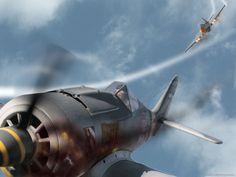 P-51 vs Fw190 Dogfight by eibes.deviantart.com on @deviantART