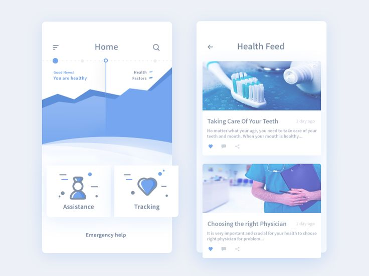 WIP of home and health feed screens from medical app. Screens are in progress this is a in-between glimpse of the product.