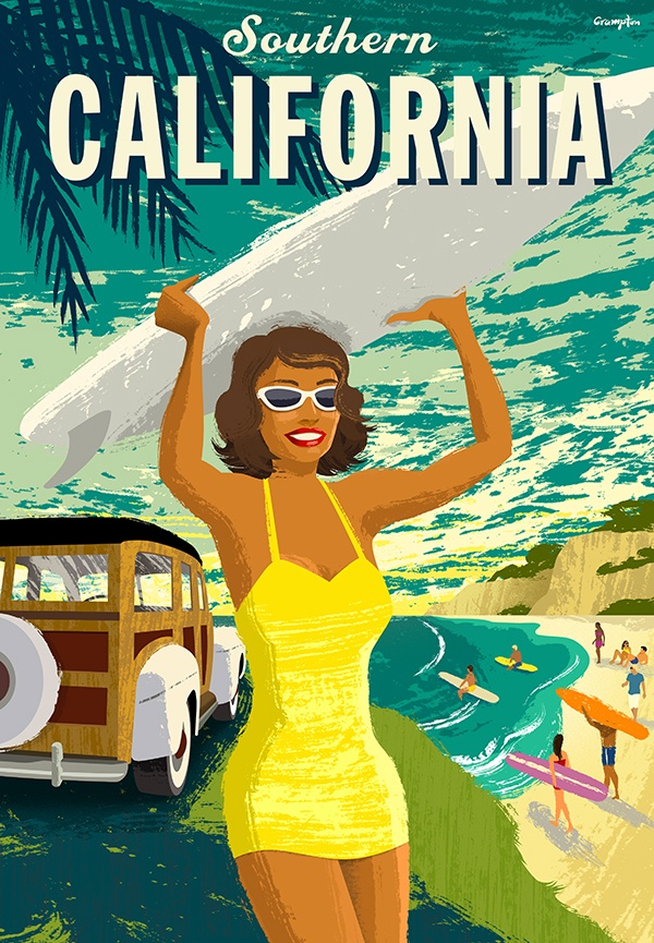 Retro Travel Poster style by Michael Crampton.