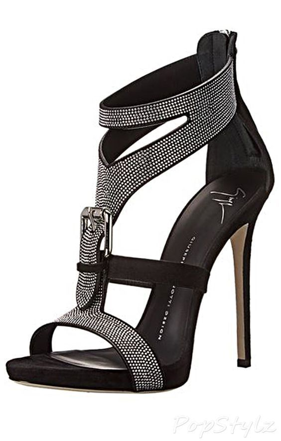 Giuseppe Zanotti Silver Pave Buckle Italian Leather Dress #Sandal