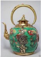 Pintura trabajo hecho a mano chino Flor Porcelana Tea Pot