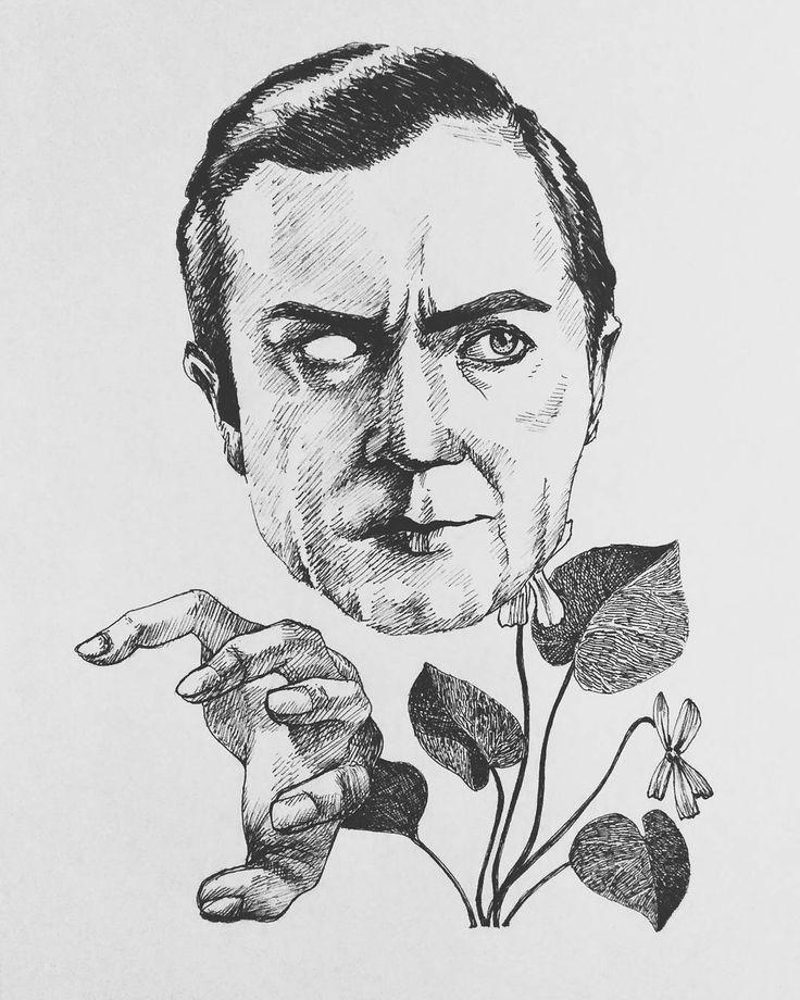 Lugosi 🕸  #horror #cinema #dracula #vampire #belalugosi #actor #art #illustration #violet #drawing #iblackwork #plants #hand #horrorfan #portrait