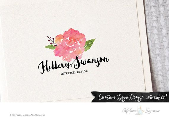 premade logo design watercolor flower logo floral by thepariswife