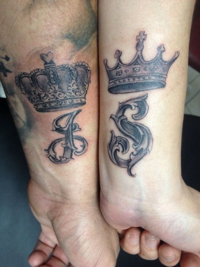 Couple matching crown tattoos