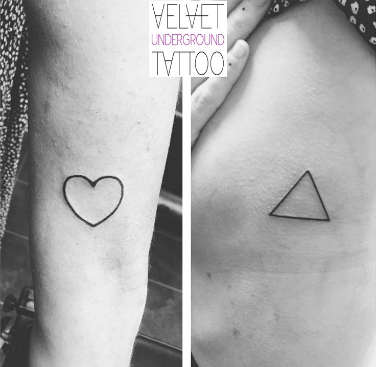 Simple linework minimalistic triangle and love heart tattoo by Emily Brown at Velvet Underground Tattoo