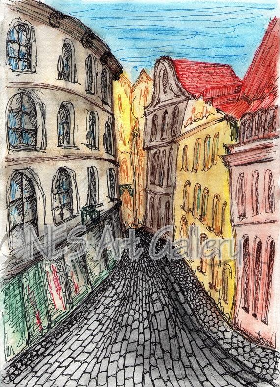 Art Print of Original Watercolor Painting Prague by nesaquarelle
