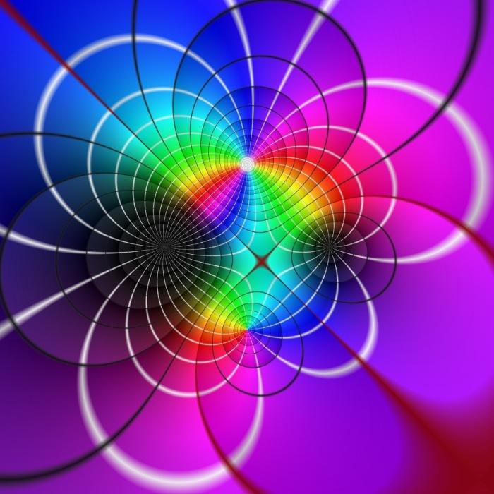 Domain Coloring einer meromorphen Funktion - Dieses Domain Coloring zeigt eine sogenannte meromorphe Funktion. Diese Funktion ist ein Quotient zweier komplexer Polynome. Die Nullstellen der Funktion sind durch schwarze Bereiche gekennzeichnet, die Polstellen durch weiße Bereiche. Mehr dazu hier:  www.vismath.eu/bild/849-domain-coloring-eine-meromorphe-funktion