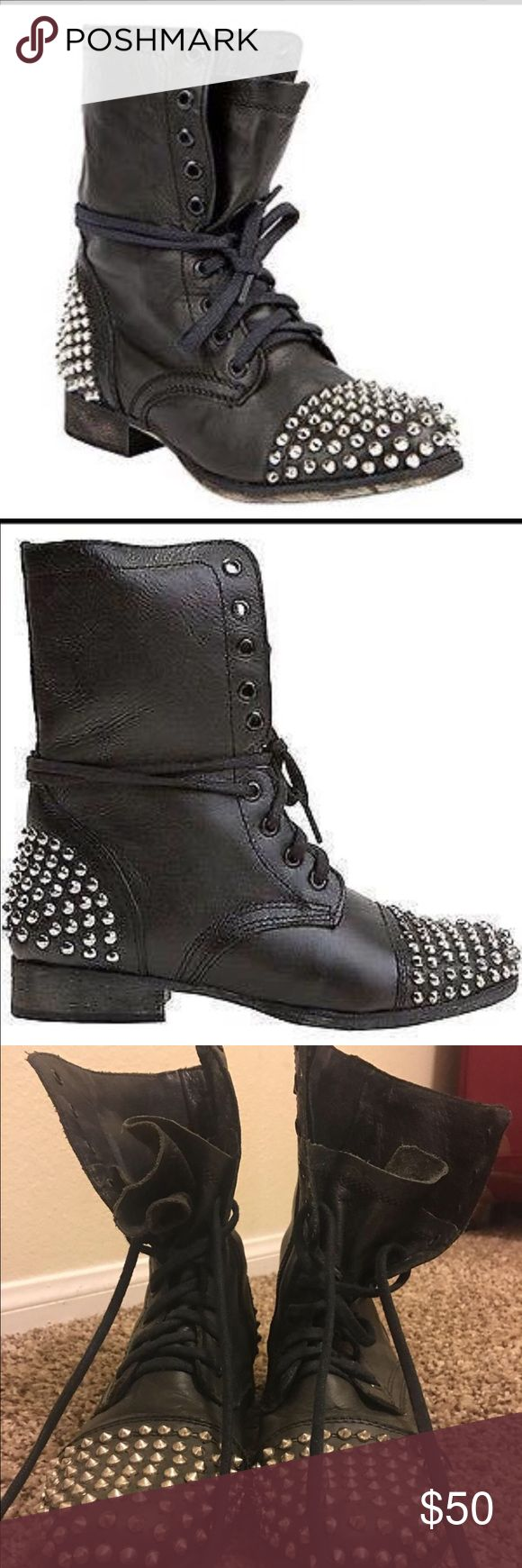 Steve Madden studded combat boots Worn a couple times very comfortable Steve Madden Shoes Combat & Moto Boots