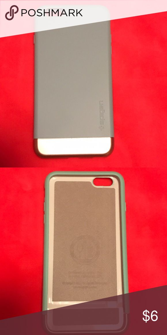 Spigen iPhone 6 Plus Case Never used. Mint green and gold. Bottom pops off to easily slide the phone into case. Spigen Accessories Phone Cases