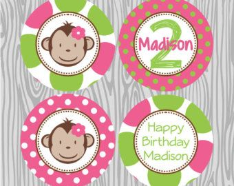 DIY  Girl Mod Monkey Birthday Name Banner Coordinating Items