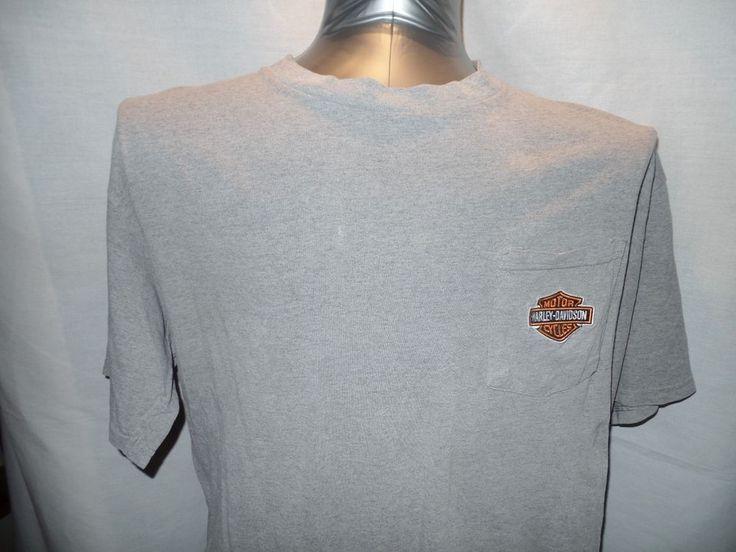 Harley-Davidson L T-Shirt 100% Cotton Plain Pocket Gray Scottsdale Az Motorcycle
