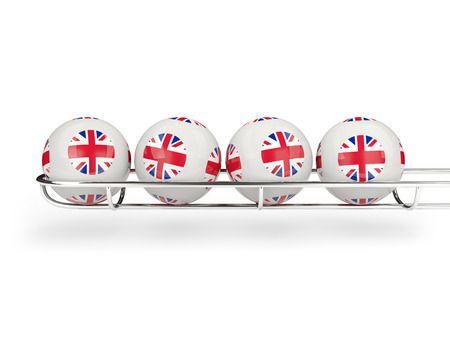 Flag of United Kingdom on Bingo Balls Where Online BIngo Rules The World