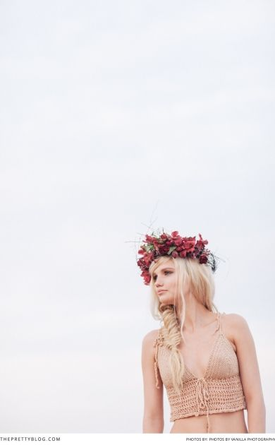 Bright red flower crown! You won't go wrong with this bold headpiece.  Photography: Vanilla Photography | Model: Tasmin | Decor & Flowers: Carolyn McNeil | Make Up & Hair: Camilla Smith | Styling & Clothes: Ashleigh Hulley |