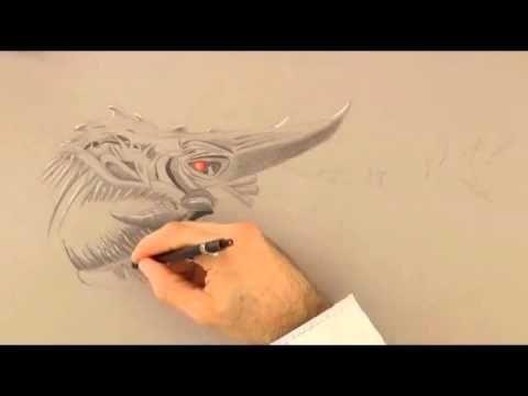 របៀបគូក្បាលដាយណូស័រ,How to Draw A Dinosaur,Drawing Art Time Lapse in 3d ...