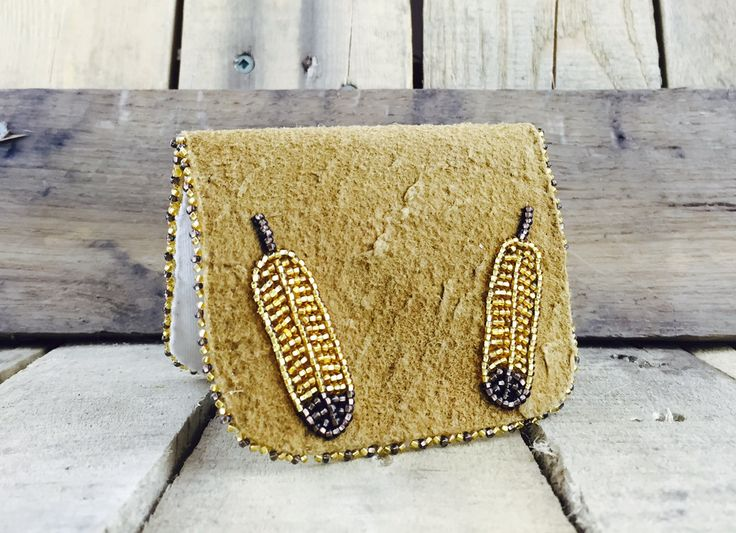 Gold feather beaded pouch #Esawa #Handmade #Feathers #Beaded