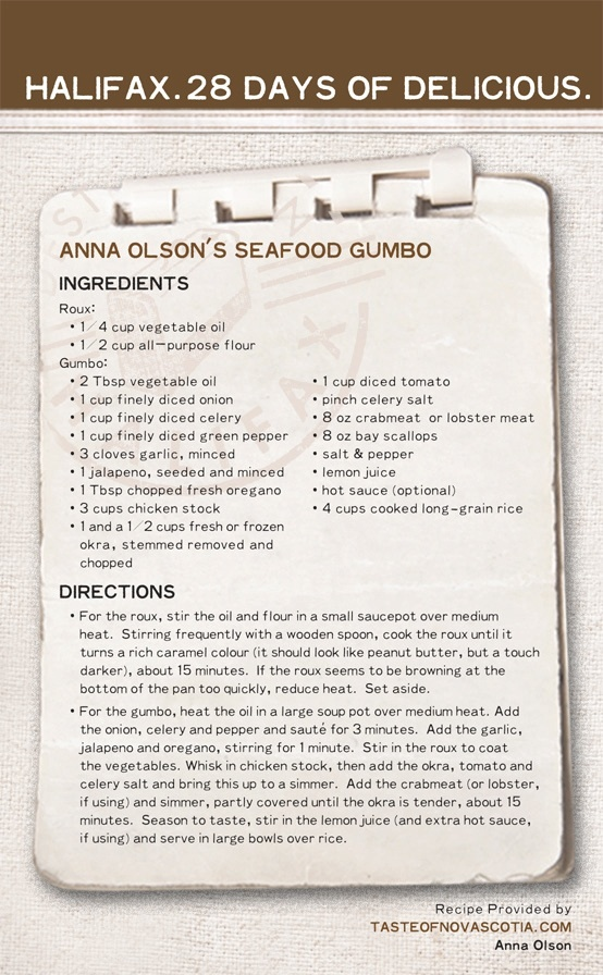 "Prepare a batch of ""Anna Olson's #Seafood #Gumbo"" with #NovaScotia #lobster, #crab, and #scallops. Simmer with vegetables and seasonings for a flavourful broth, and serve atop bowls of rice. #28daysofdelicious"