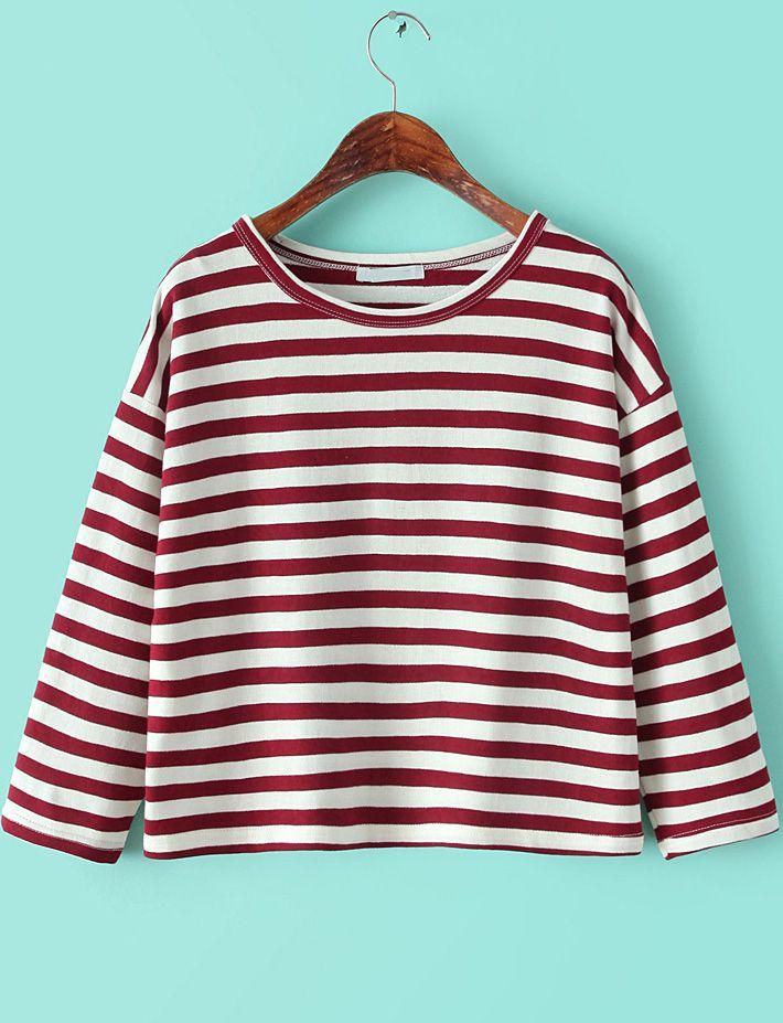 T-Shirt décontracté à rayure col rond -rouge blanc  10.88
