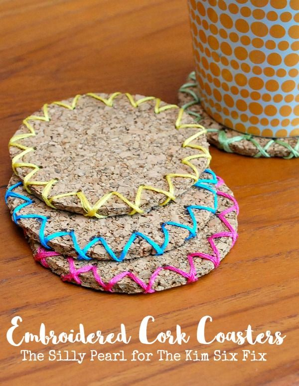DIY Embroidered Cork Coasters by The Silly Pearl - for The Kim Six Fix
