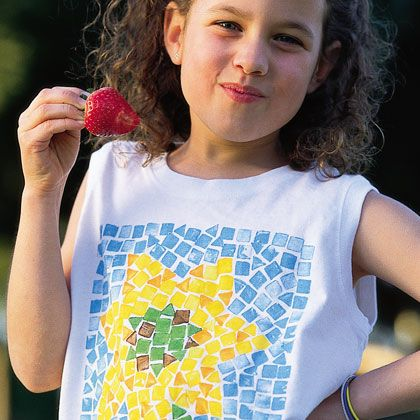 Mosaic Print T-Shirt - stamp any design you want with fabric paint.  You can cut the end of a carrot into any stamp shape you want.