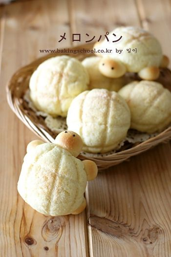 Turtle melon pan! Recipe seems to be in japanese, but has been made easy to understand with pictures ( and you can use translater ) ^^