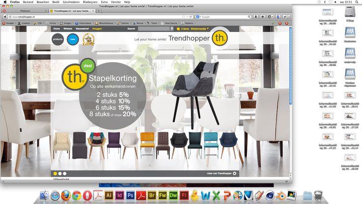 www.trendhopper.nl - vergelijkbaar met Ikea - Deze site is vergelijkbaar omdat trendhopper dezelfde soort producten verkoopt als Ikea. Wel zijn de layouts van de sites heel verschillend. Trendhopper heeft geen opvallende menubalk bovenin maar een menu in de vorm van plaatjes onderin. Wel hebben beide sites een slider met aanbiedingen/ aandachttrekkers.