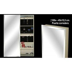 Espejo pared joyero madera blanco con puerta corredera for Espejo joyero pared