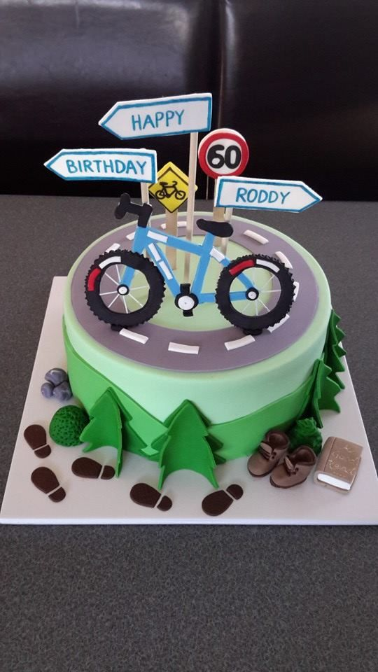 Mountain Bike and Hiking Cake. Homemade By Hollie.