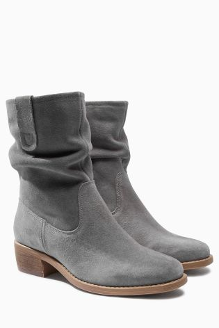 Grey Square Toe Suede Slouch Ankle Boots