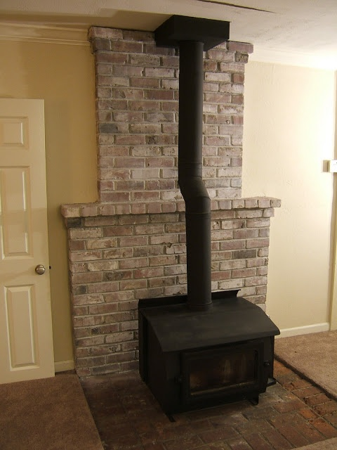 How To: White-Wash the Fireplace. Possible idea for the wood burning stove's brick hearth.