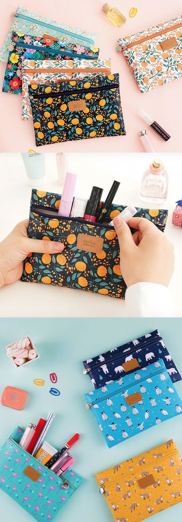 Take your pick! An animal or floral print slim pouch for all your most used pens, makeup, and cosmetics. The perfect little accessory!