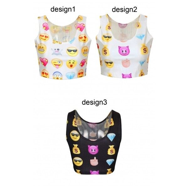 Emoji Expression Print Scoop Neck Crop Tank ($17) ❤ liked on Polyvore featuring tops, crop tank, crop top, crop tank top, cami tank and white tank top
