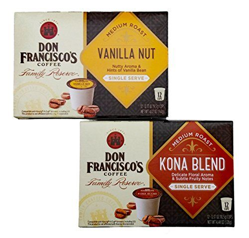 Don Franciscos Family Reserve Kona Blend Single Serve Coffee and Vanilla Nut Single Serve Coffee 12 Count in each pack Plus Free Bonus 2 Kirkland Green Tea Samples * Visit the image link more details. (This is an affiliate link and I receive a commission for the sales)