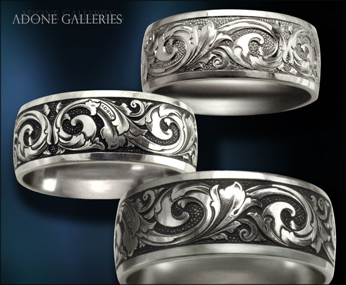 Adone Galleries, Platinum Wedding band Hand Engraved Victorian