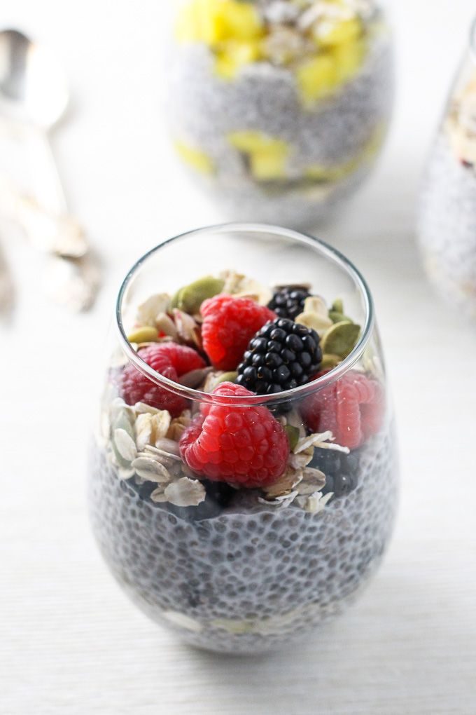 This chia pudding breakfast is easy to make and very versatile. It's sugar-free and sweetened with only fruits and berries. 3 delicious flavor combinations.