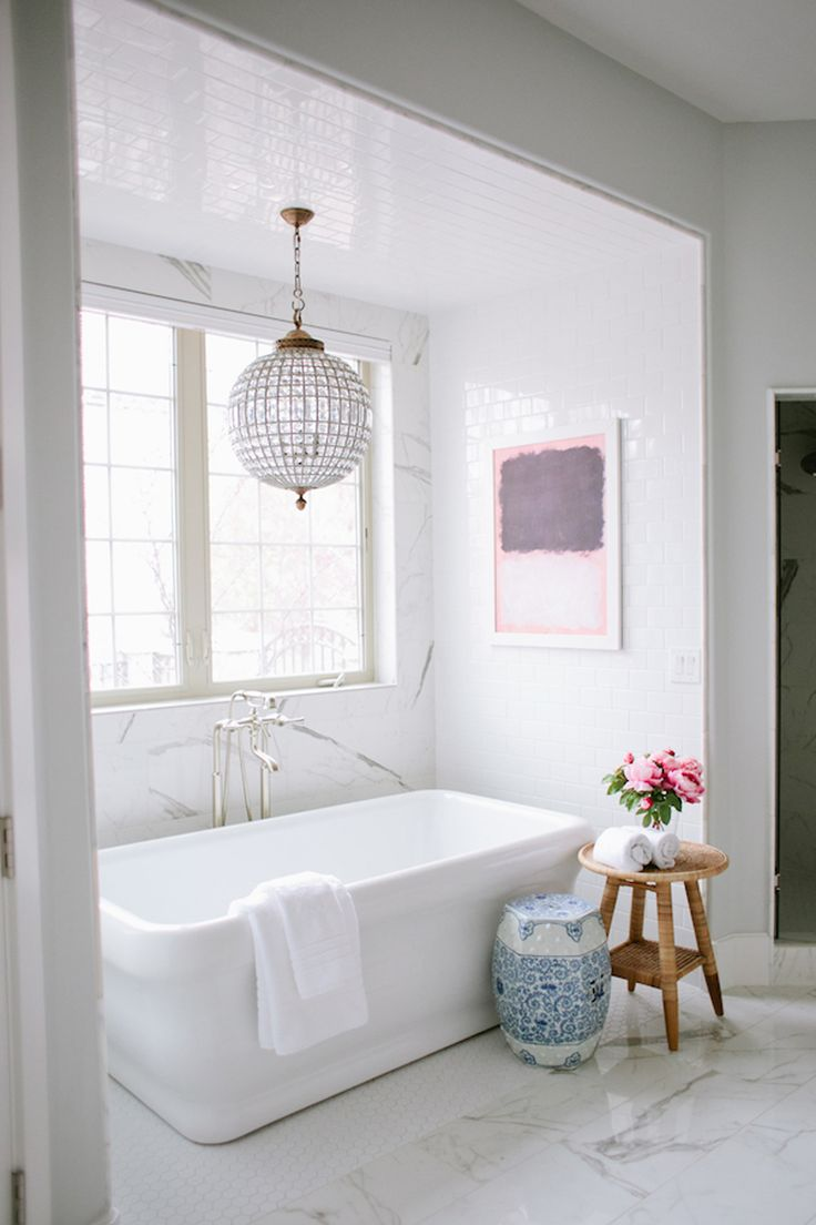 Stand alone tub in enclave of all white bathroom design | House of Jade