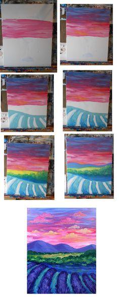 Sunset over Lavendar Field process