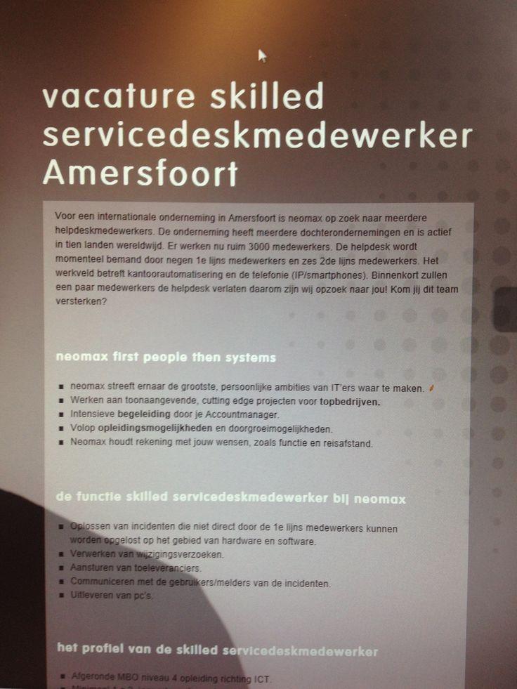 Voor een internationale onderneming in Amersfoort zoeken we een Skilled servicedesk medewerker. Uitleveren van PC's, verwerken van wijzigingsverzoeken, aansturen van toeleveranciers en natuurlijk oplossen van incidenten die niet door de 1ste lijns kunnen worden opgelost behoren tot je taken. http://ow.ly/i/3evqS Ga naar; http://neomax.nl/vacature/vacature-skilled-servicedeskmedewerker-amersfoort/