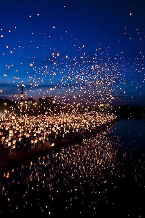 Lanterns in the night. I have always wanted to rease one on a cold starry night. <3