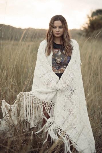 Cashmere Silk Scarf - YUCCA IN WHITE SANDS by VIDA VIDA sojMBDz