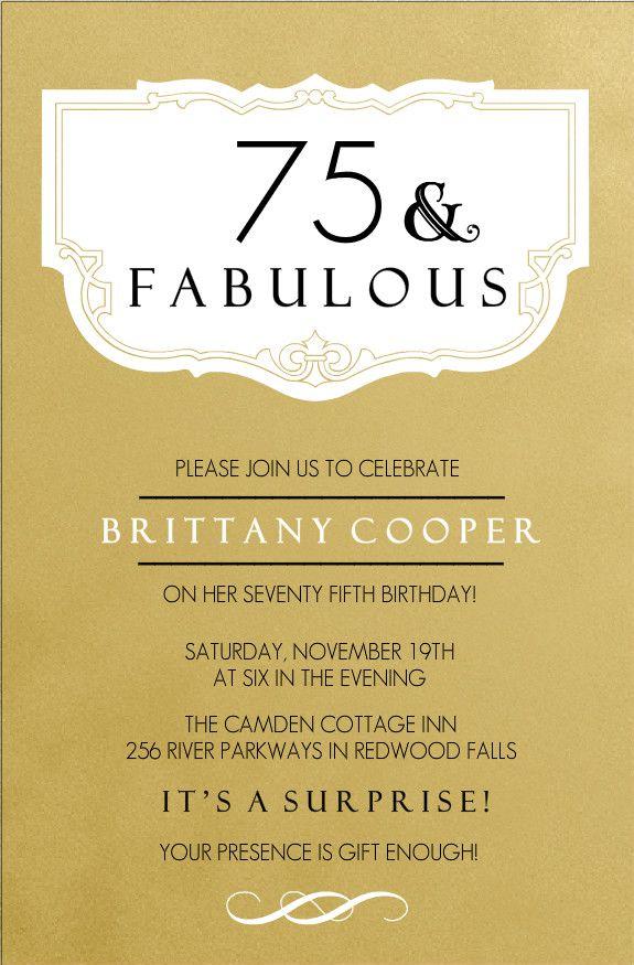 Personalized 75th Birthday Invitations | 75th Birthday Invitations - Fabulous Gold 75th Birthday Invitation