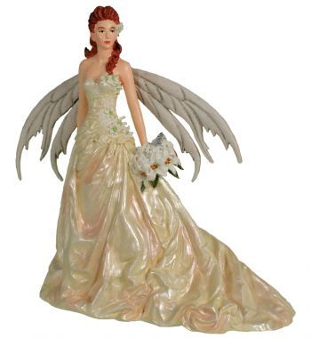 Fantasy Couture Fairy Red Hair Bride Wedding Cake Topper