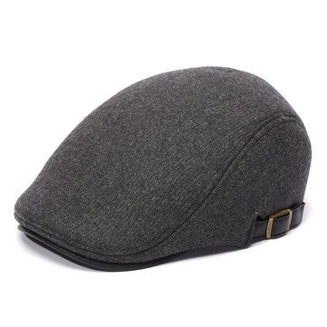High-quality Mens Winter Thicken Warm Woolen Beret Hat Adjustable Casual Solid Black Grey Forward Hats - NewChic Mobile