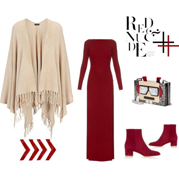 Red + Nude Poncho Look by alcalams on Polyvore featuring moda, Elie Saab, Joseph, Gianvito Rossi and Karl Lagerfeld