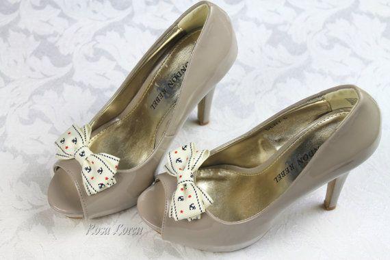 Nautical Bow Shoe Clips Nautical Shoe Clip by BouquetByRosaLoren