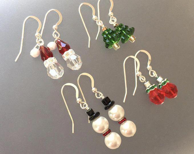 Santa Claus 2020 Holiday Christmas Swarovski Crystal Adorable Christmas Santa Earrings Made with Swarovski Crystal
